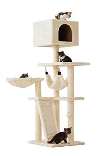 """Sopapets 52""""Multi-Level Cat Tree with Sisal-Covered Scratcher,Hammock, Basket,Condo and Activity Center (Cream)"""