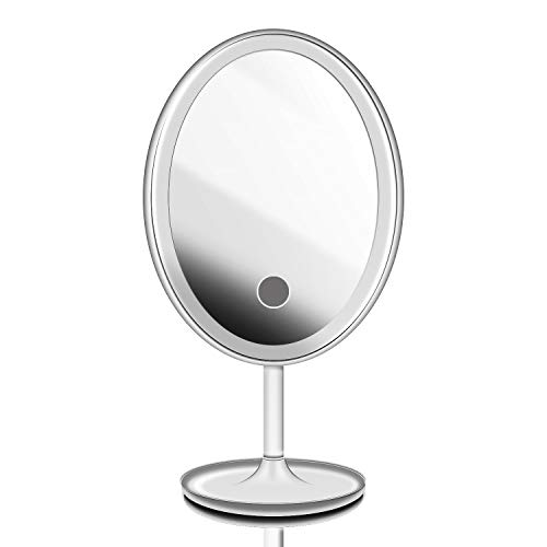Lighted Makeup Mirror, KINGDOO Portable Rechargeable LED Travel Mirror with Tray for Jewelry, One Touch Screen Switch, 180 Degree Rotation (White)