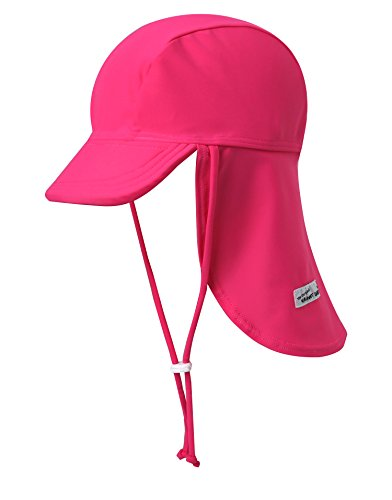 Vaenait baby Girls Sun Protection Sporty Flap Swim hat UV Flap Cap Hot Pink S