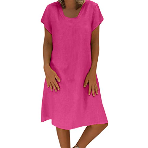 Womens T Shirt Dresses Summer Casual Short Sleeve Plus Size Cotton Linen A line Mini Dress Hot Pink -
