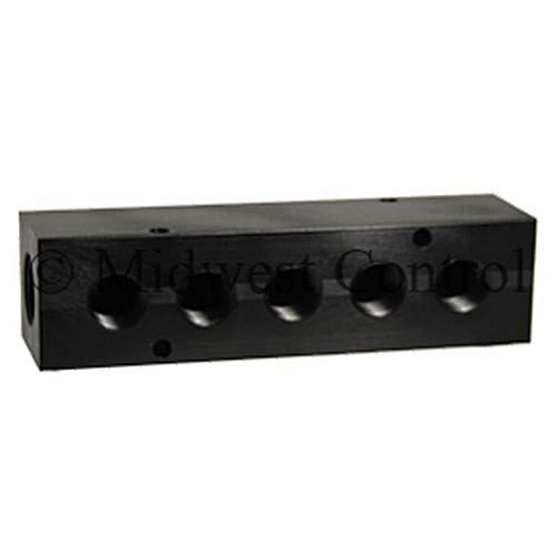 Midwest Control M38-385 Manifold 3/8'' FPT Inlet x (5) 3/8'' FPT Outlets, -10 Degree F to 200 Degree F, Black Anodized Aluminum, 1000 psi Air, 3000 psi Non Shock Hydraulic