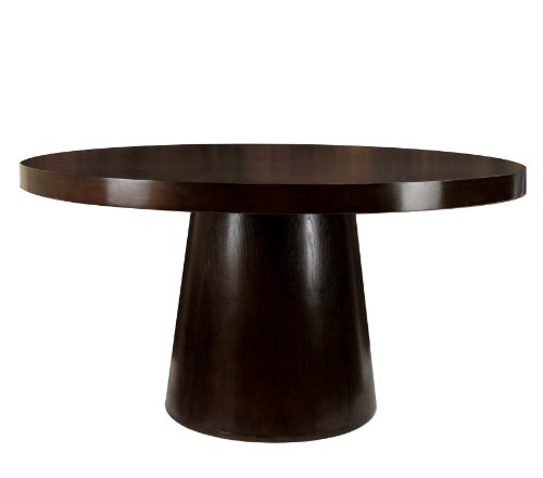 """Furniture of America Havana Table, Espresso - Modern espresso finish round table top dining table 60"""" round table top panel; drum base; solid wood construction for structural integrity Sturdy solid wood and strength enhancing veneers foundation; Espresso finish - kitchen-dining-room-furniture, kitchen-dining-room, kitchen-dining-room-tables - 31JCUuby9BL -"""