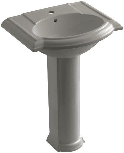 KOHLER K-2286-1-K4 Devonshire Pedestal Bathroom Sink with Single-Hole Faucet Drilling, Cashmere 1 K4 Cashmere Pedestal