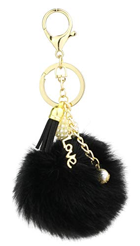 Key Chain Accessories for Women - Black Faux Fur Ball Charm and Artificial Pearl with Key Ring