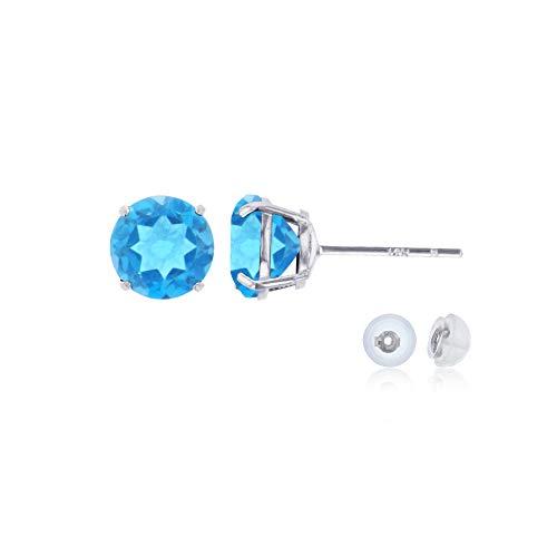 Genuine 14K Solid White Gold 6mm Round Natural Swiss Blue Topaz December Birthstone Stud Earrings