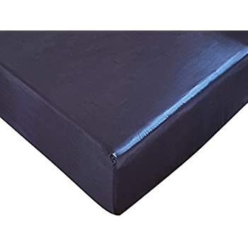 Amazon Com Dushow King Navy Blue Fitted Sheet Satin Silk