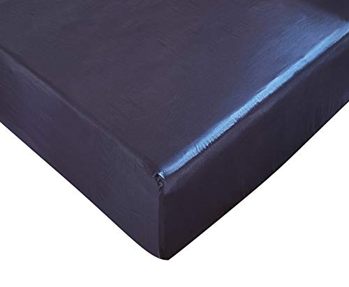 DuShow Fitted Sheet Navy Blue Queen-Deep Pocket Satin Silk Solid Fitted Sheet-Breathable Soft and Comfortable-Wrinkle Fade Stain and Abrasion Resistant