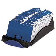 (3 Pack Value Bundle) ROL66998 VIP Open Tray Card File with 24 A-Z Guides Holds 500 2 1/4 x 4 Cards, Black -