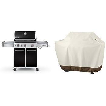 Weber Genesis 6531001 E-330 637-Square-Inch 38,000-BTU Liquid-Propane Gas Grill, Black & AmazonBasics Grill Cover - Large