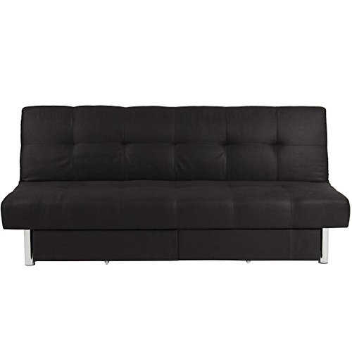 Black Microfiber Futon With 2 Storage Compartment Folding Sofa Bed Couch Mattress Recliner Lounger Sleeper Convertible Adjustable Backrest Modern Lounge Living Room Furniture Full Loveseat