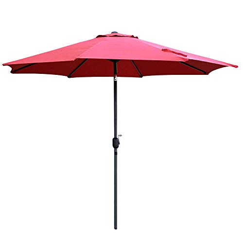 Snail 10 ft Outdoor Large Aluminum Patio Umbrella Commercial Garden Table Umbrella Sunshade with Tilting and Crank Lift System, Red (Red Round Pavers)