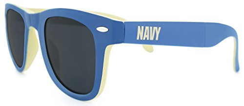 NCAA Navy (United States Naval Academy) Game Day Sunglasses with Microfiber Carrying Case/Pouch - Fully - Academy Sunglasses Polarized