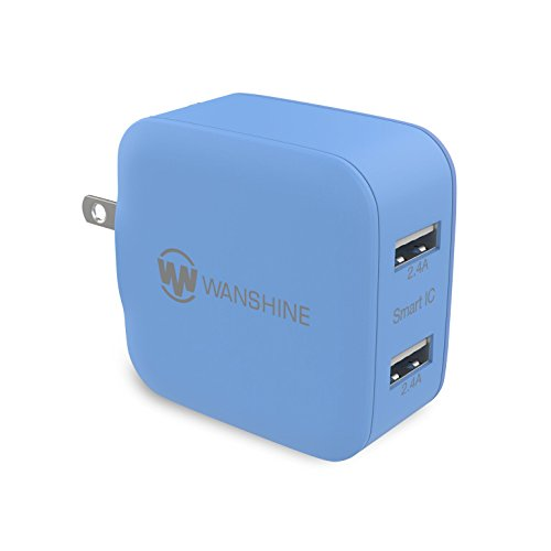 Wall Charger 24W 4.8A Wanshine Smart Dual Port USB Travel Charger for iPhone iPad, Samsung Galaxy, HTC Nexus Moto Blackberry(Charges Fast and Quickly) - Blue