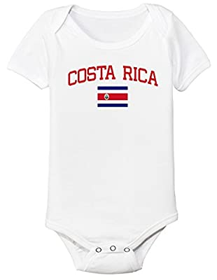 nobrand Costa Rica Bodysuit Soccer Infant Baby Girls Boys Personalized Customized Name and Number