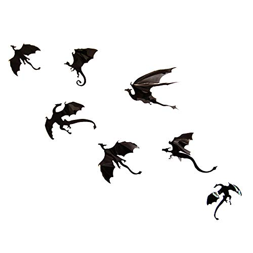 HongYH Flying Dragon Wall Decals, DIY Halloween Fantasy 3D Scary Black Dragon Wall Stickers for Wall & Window Decor, Home Improvement Decoration Party Festival Supply ()