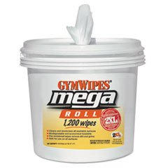 2XL Gym Wipes Mega Roll Wipes, 8 x 8, White, 1200 Wipes/Bucket, 2 Buckets/Carton by 2XL