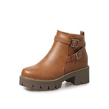 desy de mujer Zapatos PU (Poliuretano) Otoño Invierno ergonómico Botas cuadrado punta redonda hebilla cremallera para negro gris marrón Gris