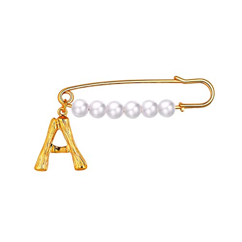FOCALOOK Letter Brooches for Women Girls Alloy Large Fashion Jewelry Party Wedding Bridal Big Faux Pearls Brooch Pins, 18K Gold Plated Bamboo Initial Metal English Capital Alphabet Breastpin(A)