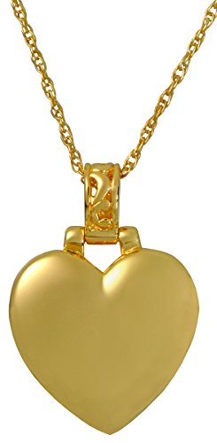 14k Gold Plated Filigree (Cremation Memorial Jewelry: Gold Plated Heart Filigree)