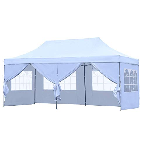 (Leisurelife Outdoor Pop Up 10'x20' Wedding Tent with 6 Sidewalls - White Folding Commercial Gazebo Canopy Tent with Wheeled Carry Bag)