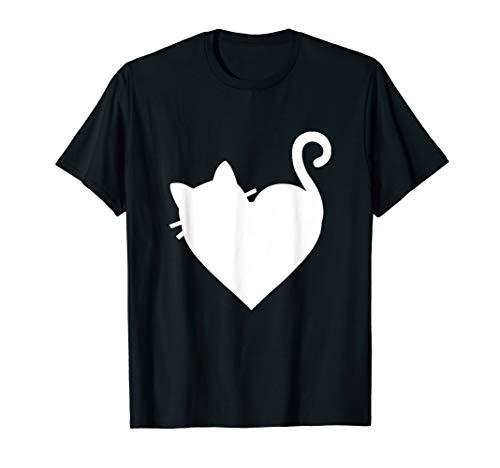 Heart Womens Pink T-shirt - Cute Cat Heart T-Shirt Mens & Womens 5 Colors - White
