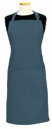 (Ritz Royale 100% Cotton Twill Two-Pocket Bib Apron with Adjustable Neck and Waist, Federal Blue)