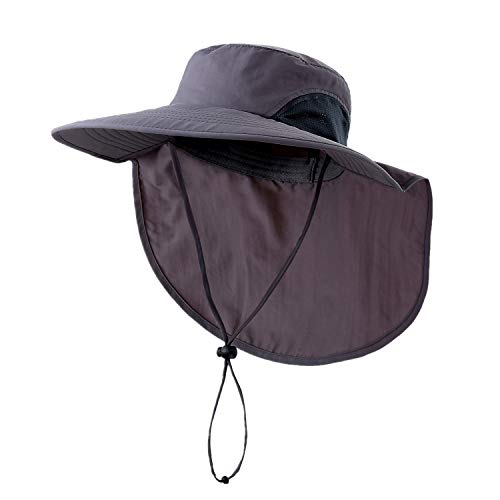 Home Prefer Outdoor UPF50+ Sun Hat for Men Wide Brim Fishing Hat with Neck Flap Dark Gray