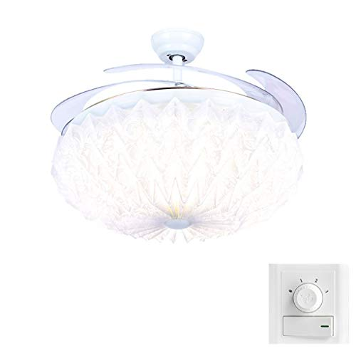 Ceiling Fan Lamp Fold Beautiful Dining-Room Invisible Nordic Sitting Room Bedroom Contemporary and Contracted Family Expenses Takes Lamp Fanner Lamp 32W Trichromatic Change Smooth Wall Control 2 Fire