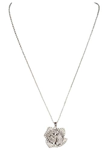 Fashion Jewelry MISASHA Celebrity Designer Camellia Charm Rhinestone Necklace (Silver) ()