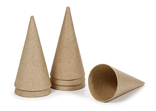 Darice Paper Mache Cone - 4 x 2 inches - 6 Pieces ()