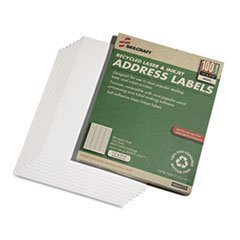 (AbilityOne - Label, Return Address, Recycled, Laser and Inkjet, White, 1/2