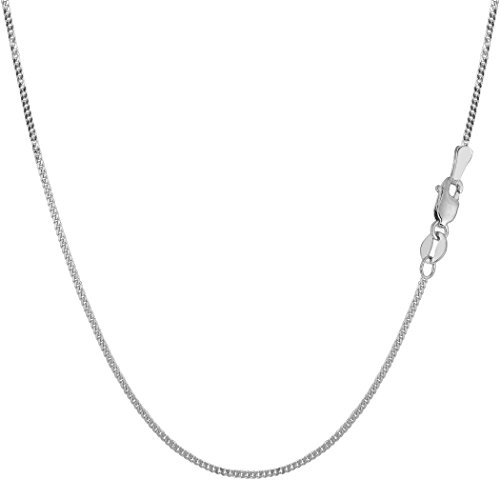 10k White Gold Gourmette Chain Necklace, 1.0mm, 20
