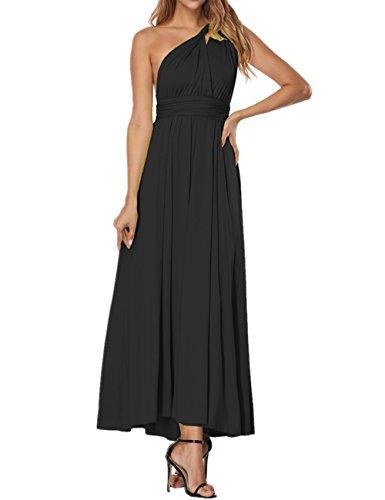 SELUXU Vestido de Las Mujeres de Alta Cintura Convertible Multi-Forma Abrigo Dama de Honor Formal Largo Vestidos Maxi Transformador/Infinito Vestido Negro