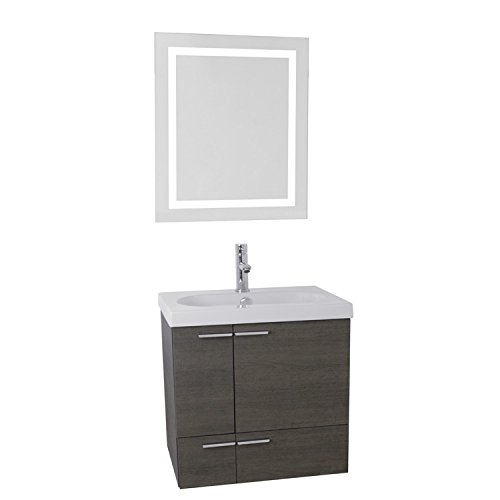 ACF ANS509 New Space Bathroom Vanity with Fitted Ceramic Sink Wall Mounted and Lighted Mirror Included, 23