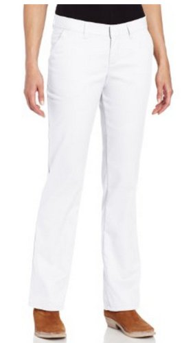 Dickies Women's Wrinkle Resistant Flat Front Twill Pant With Stain Release Finish,White,4 Regular