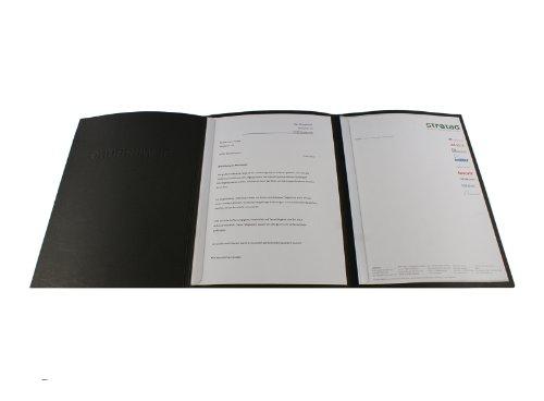 10 dreiteilige Bewerbungsmappen schwarz mit 2 Klemmschienen in feinster Lederstruktur