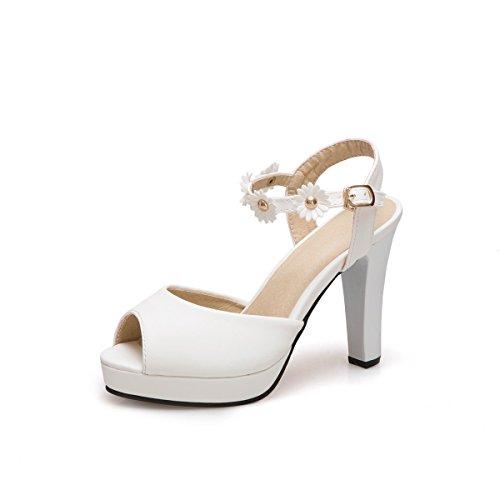 Zapatos de Mujer PU Primavera Verano Sandalias Tacón Stiletto Tacón Grueso Peep Toe Bowknot para el Vestido Casual Fiesta y Noche Blanco Rosa Beige Do