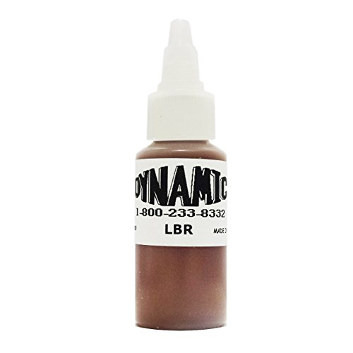 DYNAMIC COLOR Tattoo Ink 1oz Red Blue Green Yellow Brown Black White U PICK (Dynamic Light Brown (1 Ounce White Light)