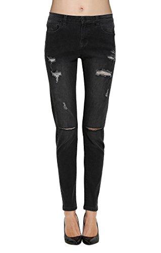 Zlz Donna Grigio Distressed Pantaloni Jeans Stretch Denim Distrutti rPpqr75