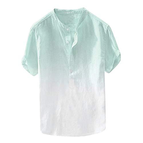 Sunhusing Refreshing Summer Men Thin Breathable Gradient Tie-Dyed Gradient Cotton Linen Short-Sleeve T-Shirt Blue (Cobalt Programming)