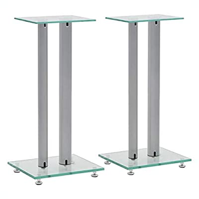 HomyDelight Speaker Stand & Mount, Speaker Stands 2 pcs Tempered Glass 2 Pillars Design Silver