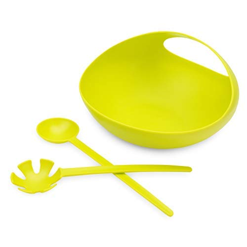 (Salad Serving Bowl Set with 2 Server Utensils and Convenient Handle in Green - Unique Retro Shape - Shatter-proof, Food and Microwave Safe Plastic - Colorful and Decorative)