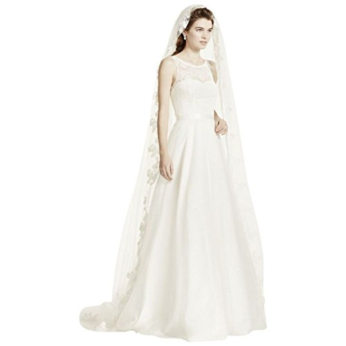 One Tier Cathedral Veil with Lace Embroidery Style FFSV524, Ivory by David's Bridal