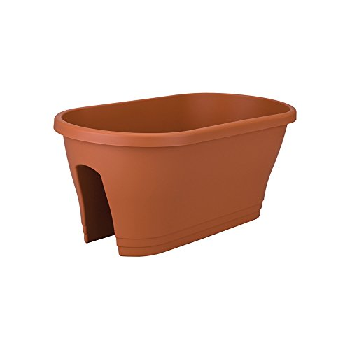 Terra Cotta Oval Planter - Exaco Corsica Oval Flower Bridge Planter, Terra Cotta
