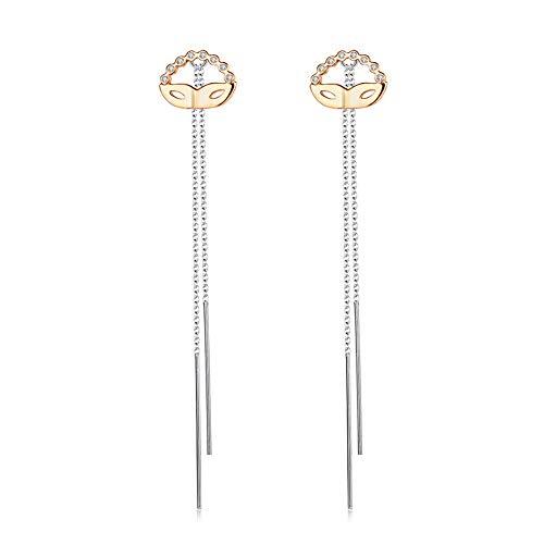 YAZILIND Fashion Fox Mask Cubic Zirconia Tassel Pendant Drop Dangle Earrings Women Birthday Party Jewelry Gift