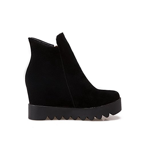 Closed Black Boots High Solid Zipper AmoonyFashion Flock Round Women's Heels Toe PpUqB1vqf