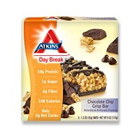Atkins Day Break Bars Chocolate Chip Crisp, Chocolate Chip Crisp 5 Bars Per Pack (2 Pack)