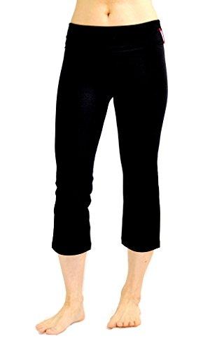CLARANY Women's Combed Cotton Spandex Foldover Lounge Capri Yoga Pants (Small)