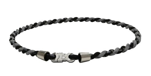PHITEN Tornado Chrome Titanium Necklace, Black/Grey, - Baseball 30 Necklace
