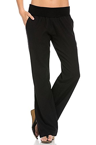 (Poplooks Women's Comfy Fold Over Linen Pants (XX-Large, Black))